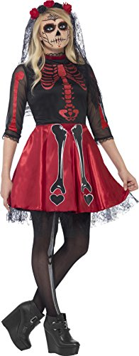 Smiffy's Teen Girls' Day Of The Dead Diva Costume, Dress and Headpiece, Halloween, Size S, Ages 14+, (Usa Halloween Day)