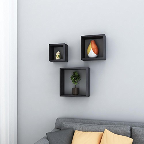 Cosway Floating Shelves Modern Home Décor, Set of 3 Square Cube Shelves Wall Mount Shelves 3 Colors
