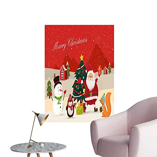 """SeptSonne Wall Decals Santa Claus and Lovely Animal Snowman Environmental Protection Vinyl,20"""" W x 36"""" L"""