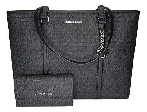 MICHAEL Michael Kors Sady Large MF TZ Tote bundled with Michael Kors Jet Set Travel Large Trifold Wallet (Signature MK Black) (Brillen Von Michael Kors)