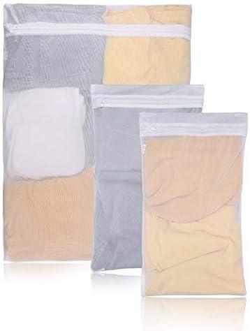 Aydino - 3 bolsas de lavado, de malla blanca con cremallera para ...