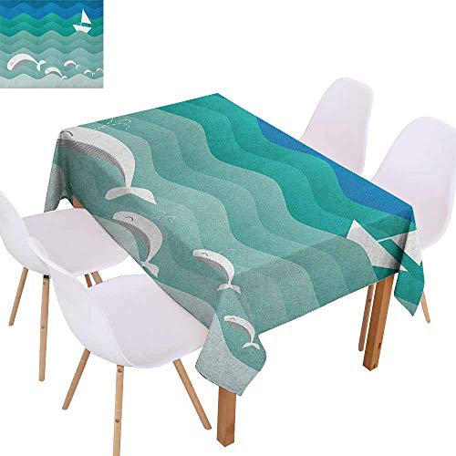 Marilec Fabric Dust-Proof Table Cover Nautical Nautical Theme with Paper Boat Sea Happy Dolphins Underwater Sea Animals Washable Tablecloth W70 xL84 Blue Sea Green White