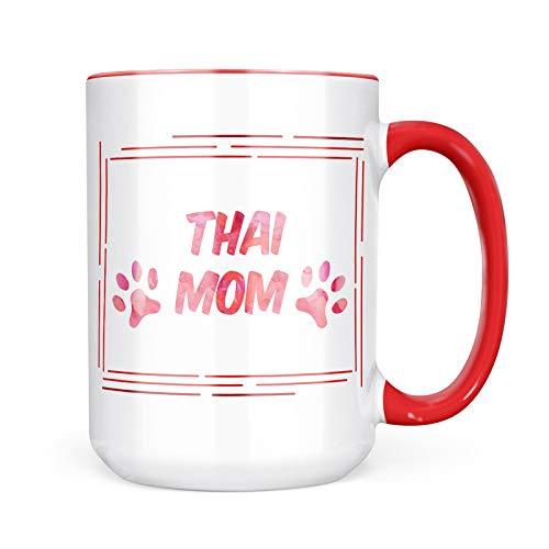 Neonblond Custom Coffee Mug Dog & Cat Mom Thai 15oz Personalized Name