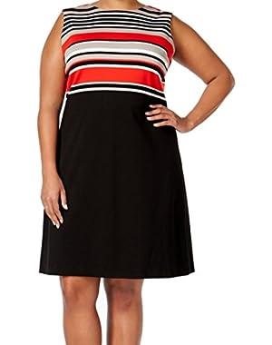 Red Women's Plus Colorblock Sheath Dress
