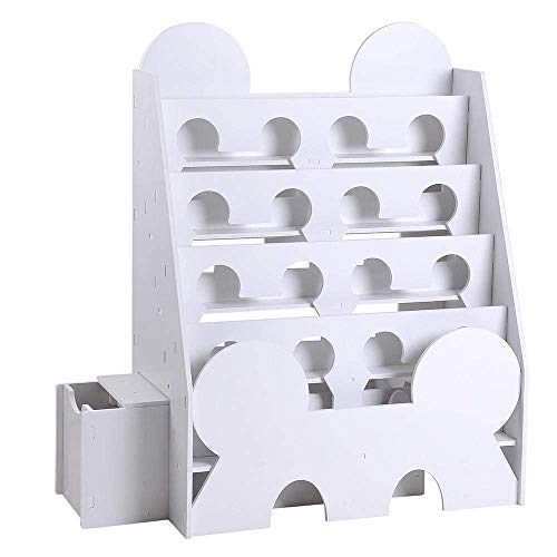 (5-Tier White Bookshelf Bookcase Display Rack Book Storage Organizer w/Drawer for Comic Kids Children Snap-Together Assembly)
