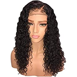 Hair Black Women Curly Brazilian Virgin Hair Lace Front Wigs Human Hair Wigs Glueless with Baby Hair 20 inch (Black, 20inch)