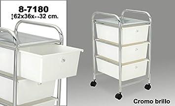 DonRegaloWeb - Carro de baño de 3 cajones de PVC en color blanco y estructura de metal. Medidas: 62x36x32 cm: Amazon.es: Hogar