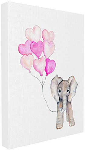 (The Stupell Home Décor Collection Baby Elephant with Pink Heart Balloons Stretched Canvas Wall Art, 16 x 20)