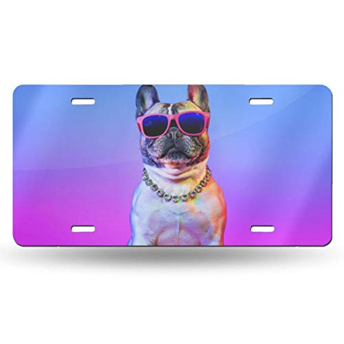 (NLXZD Bulldog Wearing Sunglasses Novelty License Plate American Vehicle License Plate)