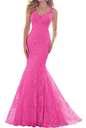 Mermaid Abendkleider Festkleid Traeger Spitze Ivydressing Damen Hochzeitskleid Fuchsie Beliebt qEwO1FZ