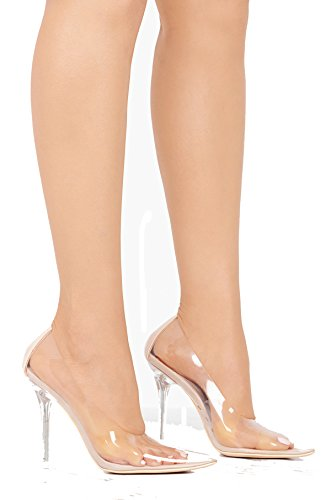 Michelle Parker Cape Robbin Glass Doll Transparent Transparent Clear Pointed Pointy Toe Slip On Stiletto High Heel Pumps Nude