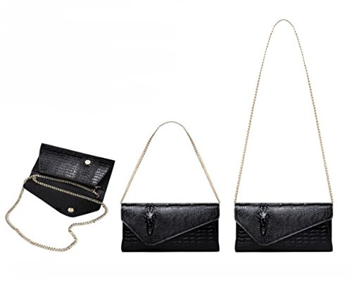 avec Pochette pour messager Dîner un sac de été de SLR en Noir d'enveloppe d'épaule crocodile printemps Pochette forme femme 1xw76Wp