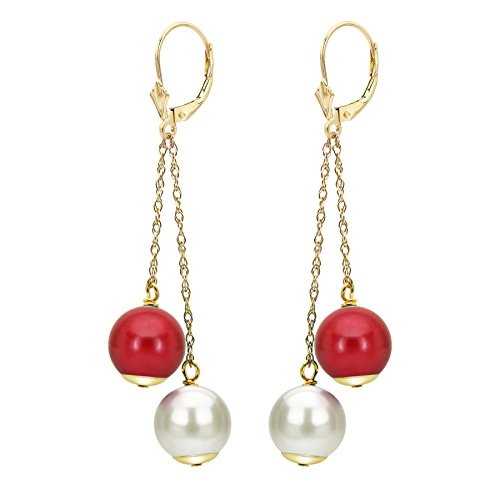 14K Yellow Gold Freshwater White Cultured Pearl Earrings Simulated Red Coral Anniversary Gift 8-8.5mm (Coral Anniversary Gift)