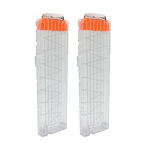 EKIND Soft Bullet Quick Reload Clips 18 Darts Clips Compatible for Nerf N-Strike Elite Magazine Toy Gun (Transparent, Pack of 2) (Nerf Magazine Clip)