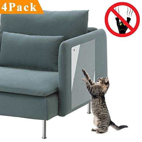 PetIsay Plastic Couch Guard for Cats(Set of 4), Premium Cat Scratch Deterrent Tape, Heavy Duty Thick Vinyl Anti Cat Scratching Furniture Protectors (Clear, for Fabric(24
