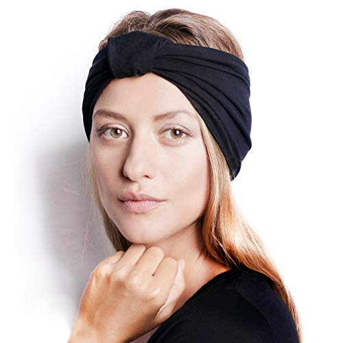 BLOM Original Multi Style Headband. for Women Yoga Fashion Workout Running Athletic Travel. Wear Wide Turban Thick Knotted + More. Comfort Stretch & Versatility. (Black)