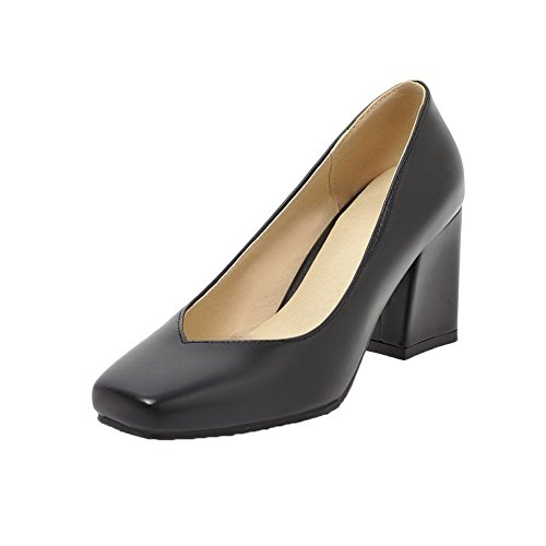 VogueZone009 Women's Buckle PU Round-Toe High-Heels Solid Pumps-Shoes Black Tlw8H