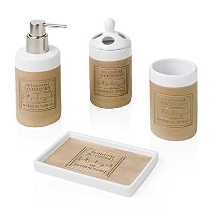 Brandani set accessori bagno senso naturale in legno 4 pezzi ...