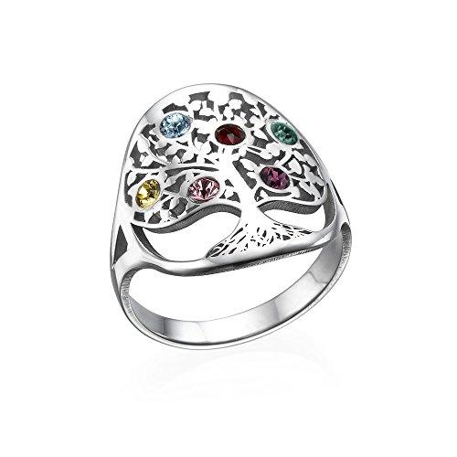 (MyNameNecklace Personalized Custom Family Tree with Swarovski Birthstone Ring for Woman-Jewelry Gift)