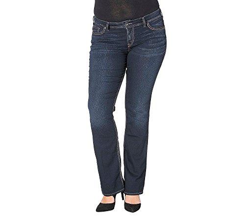Silver Jeans Women's Plus Size Suki Mid Silm Bootcut Skinny Jean, Dark Wash Indigo, 18 x 33 by Silver Jeans Co.