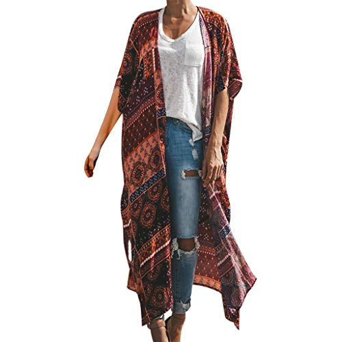 Cenglings Womens Floral Printing Half Sleeve Long Smock Tops Ankle Length Cover Up Loose Kimono Cardigan Capes Orange ()