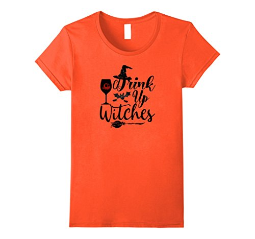 Womens Drink Up Witches T-Shirt Witchcraft Clothing Halloween Night Medium Orange (Witchcraft Clothes)