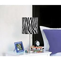 Chrome-Base Zebra Stick Table Lamp, Black and White