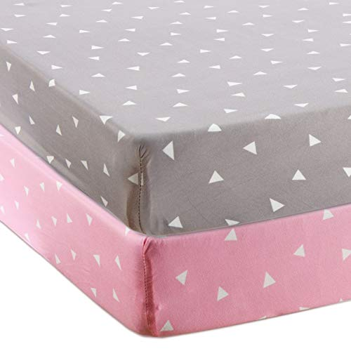 BROLEX Stretchy Fitted Crib Sheets Set-Brolex 2 Pack Portable Crib Mattress Topper for Baby Boys Girls,Ultra Soft Jersey,Full Standard,Pink Grey Triangle