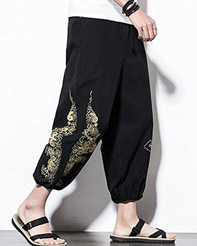 Sarouel Pantalon Elastique Motif Homme Liangzhu Taille Noir Ethnique Casual En Lin Avec waddqX7xv