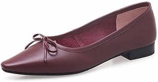 SHINIK Femmes Casual Mary Jane Fresh Bow Sandales Été en Cuir à Talons Bas Chaussures Plates Chaussures de Grande Taille