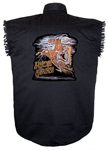 Leather Supreme Men's Denim Sleeveless Biker Shirt With Real Embroidered Ride Free Indian Chief On Horse Biker Patch-Black-4Xl (Leather Jeans Ride)