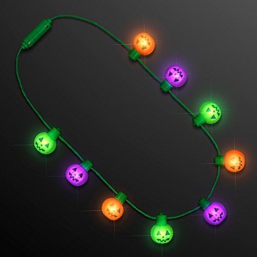 FlashingBlinkyLights LED Light Up Halloween Funky Pumpkin Jack O Lantern Lighted Necklace (Purple Orange Green)