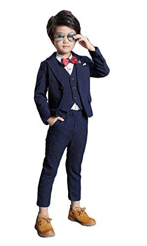 Boys Lounge Suit Blazer Vest Pants 3 Pieces Black Blue Burgundy 3 Colors (3T, Blue) ()