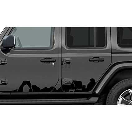 Mopar 82215730 Jeep Wrangler Two Door Models Low Gloss Black Mountain  Bodyside Graphic