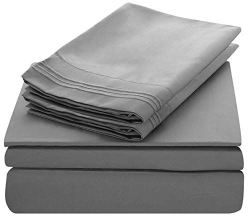 Lux Decor Collection Bed Sheet Set - Brushed Microfiber 1800 Bedding - Wrinkle, Stain and Fade Resistant - Hypoallergenic - 4 Piece (Queen, Embroidery Grey)