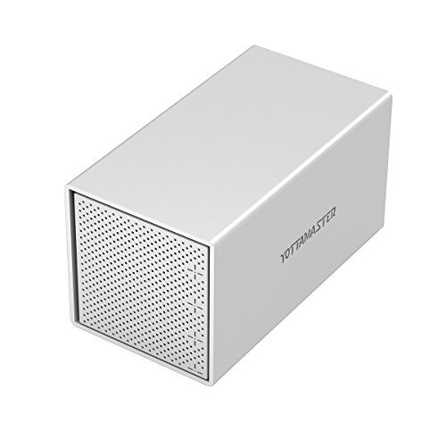 Yottamaster Aluminum Alloy 4 Bay 3.5 Inch USB3.1 Type C RAID External HDD Enclosure SATA3.0 Support 4x10TB & UASP -Silver by Yottamaster