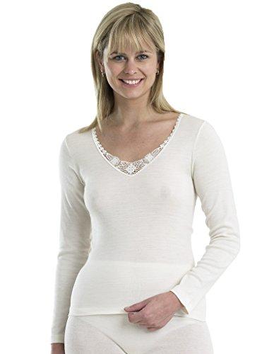Slenderella Touch of Silk Cream Modal Long Sleeve Cami Top UW833 Medium