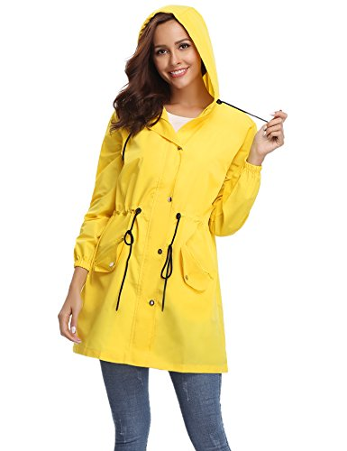 Abollria Womens Outdoor Waterproof Lightweight Windbreaker Raincoat Hooded Rain Jacket -