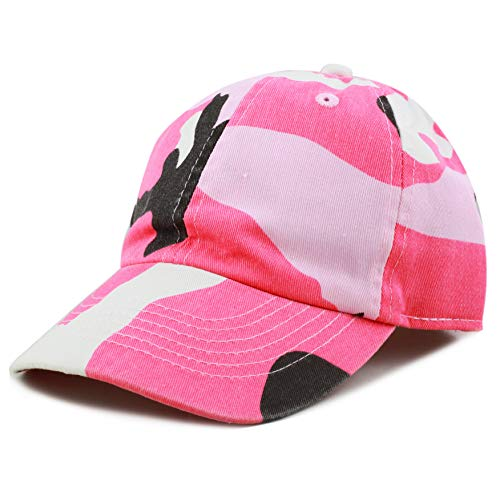 The Hat Depot Kids Washed Low Profile Cotton and Denim Plain Baseball Cap Hat (Pink Camo)