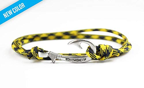 Chasing Fin Adjustable Bracelet 550 Military Paracord with Fish Hook Pendant (WVU)