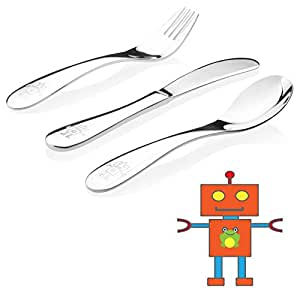 Kiddobloom Kids Stainless Steel Utensil Set, Robot model, 3-piece Child Flatware includes Spoon, Fork, and Butter Knife. Perfect for Preschoolers. Great for Birthday Gifts.
