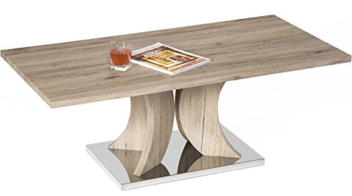 - Mango Steam Hanford Coffee Table - Cypress Tan - Wood Textured Legs and Top and Stainless Steel Base