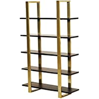 Urbanmod UM6546 Midcentury Modern Gold Walnut 5 Tier Acacia Wood Bookcase 51W