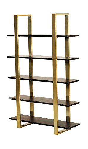 Urbanmod UM6546 Midcentury Modern Gold Walnut 5 Tier Acacia Wood Bookcase 51″W 41tlBJwk50L