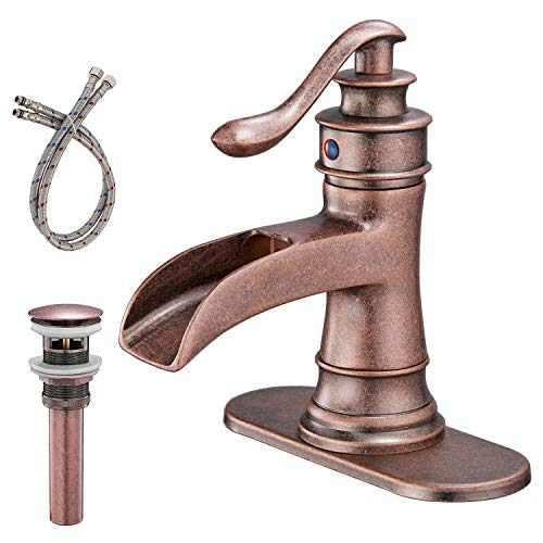 BWE Commercial Waterfall Spout Bathroom Sink Faucet Single Handle One Hole Antique Copper Deck Mount -
