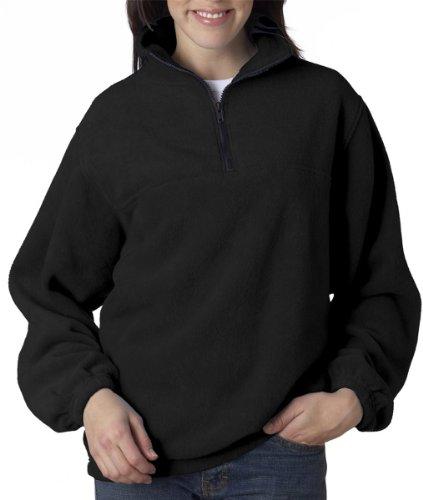 UltraClub 8480 Adult Iceberg Fleece 1/4-Zip Pullover (Black) (XL)