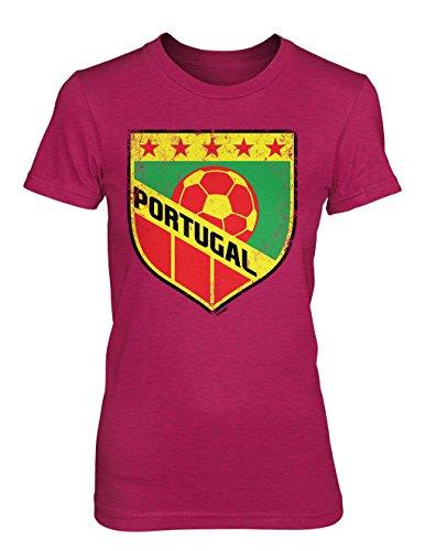 Portuguese Soccer Badge Juniors T-Shirt (Pink, (Portugal Home Retro Shirt)