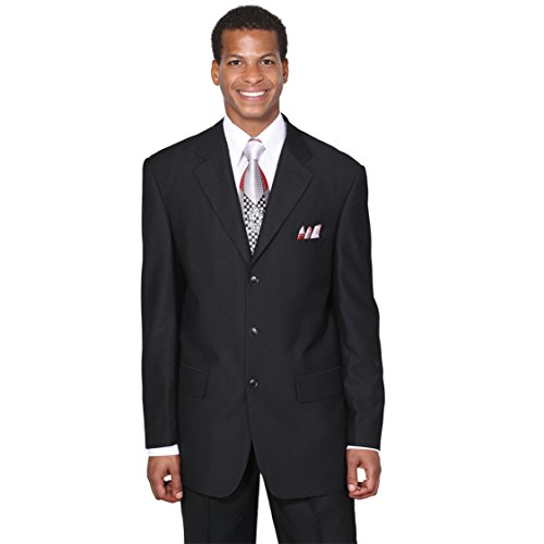 Fortino Landi Men's 3 Button Single Breasted Dress Suit 8022-Black-44L