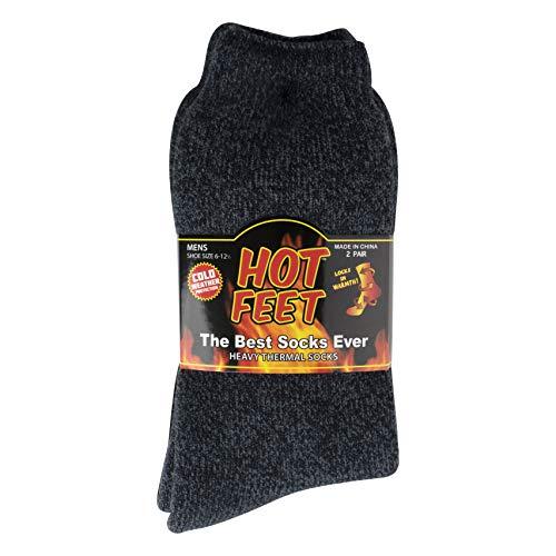 Cozy, Heated Thermal Socks for Men, Warm, Patterned Crew Socks, USA Men's Sock Sizes 6 – 12.5 - Hot Feet (Denim Heather/Dark Navy) by Hot Feet (Image #6)