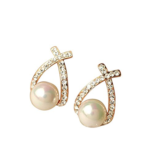 Sinfu 1 Pair Elegant Women Lady Fashion Crystal Rhinestone Simulated Pearl Ear Stud Earrings Jewelry for Wedding Party Gifts (A)